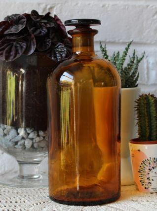 Flacon d'apothicaire en verre fiole de pharmacie ambrée