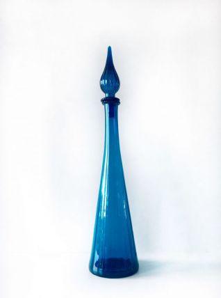 Grande carafe Italienne en verre bleu