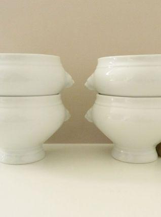 4 bols en porcelaine anses tête de lions, soupe à l'oignon