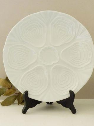 6 assiettes à huîtres blanche en porcelaine de Limoges