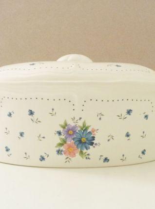 Cocotte, térrine en céramique à motifs floraux