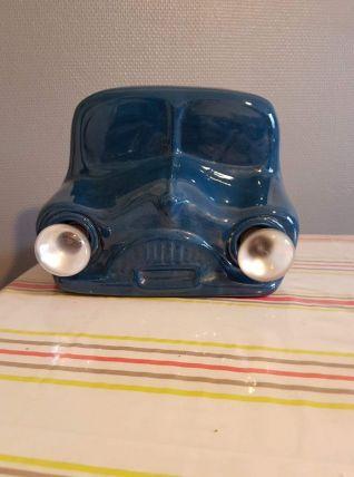 lampe vintage céramique bleue forme avant de voiture