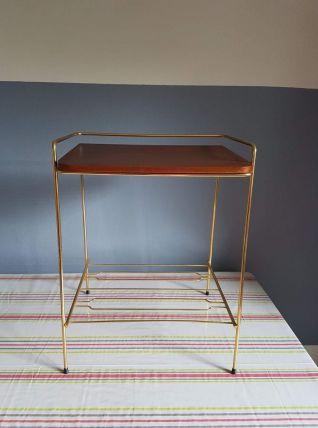 table d'appoint vintage structure métal  et tablette bois