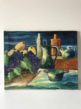 Tableau huile sur toile vintage nature morte