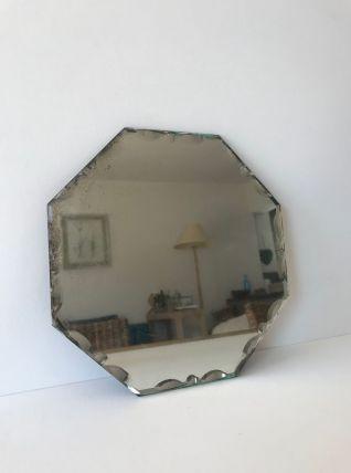 Miroir mural ancien hexagonal biseauté
