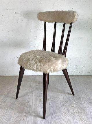 Chaise moumoutte blanche vintage 60's
