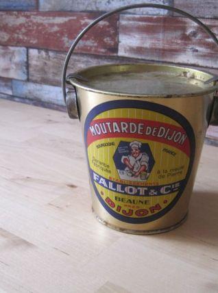 Boîte en métal   pot a moutarde ancien en tole moutarde
