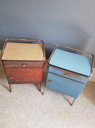 paire de chevets métal et tablette formica années 60