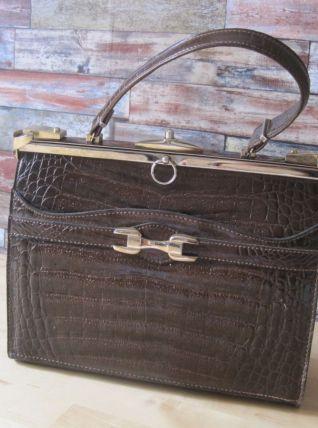 Sac de femme ancien en imitation  cuir ( crocodile) vintage