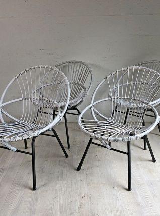 Ensembles de 4 authentiques fauteuils en rotin vintage 60's
