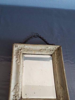 ancien miroir cadre bois + plâtre peint avec belle chaîne