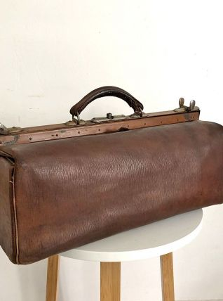 Petit sac de voyage en cuir vintage 50's