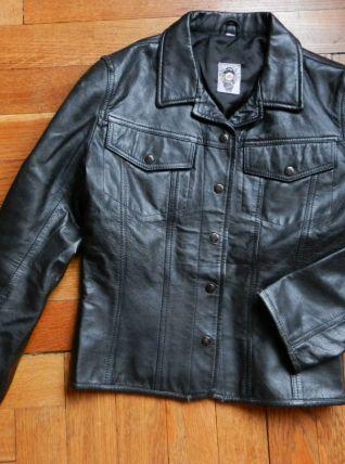 joli blouson de cuir noir vintage CIMARRON