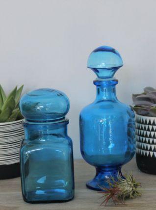 Ensemble de 2 pots en verre bleu turquoise
