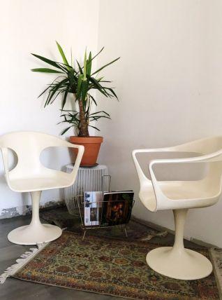 Paire de fauteuils Tulipe pivotants des années 60
