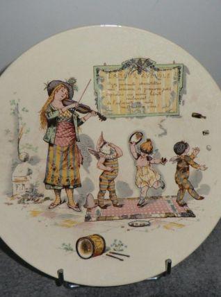 assiette illustrée en faïence de Sarreguemines U&C -