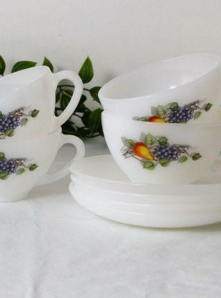 4 tasses et sous-tasses Arcopal
