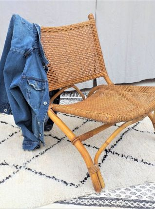 Fauteuil chauffeuse rotin vintage années 70