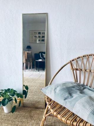 Grand miroir rectangulaire, cadre laiton doré