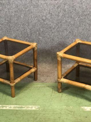 Paire de guéridons en bambou et verre - années 60