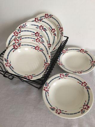 8 assiettes creuses Charbonnier Salins - Modèle Evian