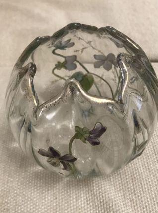 Vase boule aumônière art nouveau  cristal émaillé