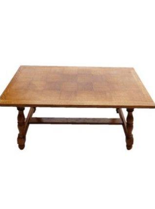 Table basse plateau en placage damier