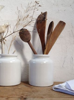 Paire de pots en grès émaillé blanc