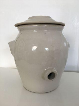 Vinaigrier en terre cuite émaillée blanc