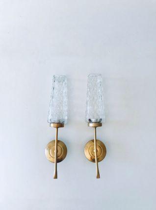 Paire d'appliques art déco verre et laiton