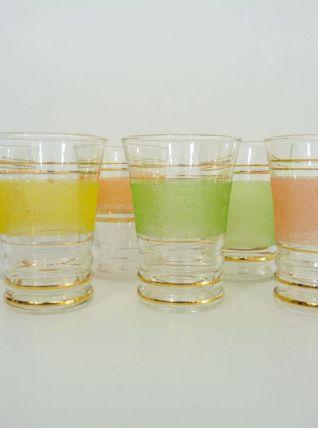 6 verres anciens en verre granité coloré et liserait doré