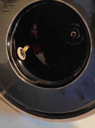 lampe à poser pied céramique noir et abat-jour tissu beige