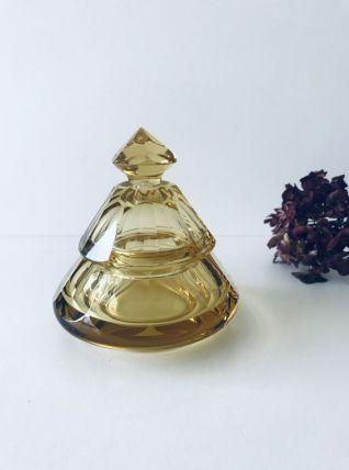 Boite ambrée en cristal taillé