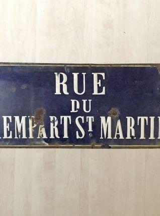 """Plaque émaillée """"rue du rempart Saint Martin"""" vintage 40's"""