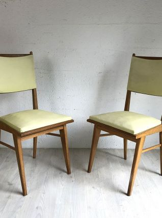 Paire de chaises vertes pale vintage 60's