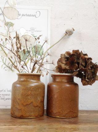 Paire de pots en grès vintage