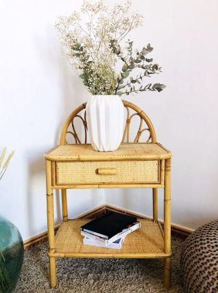 Table de chevet ou d'appoint en rotin & bambou