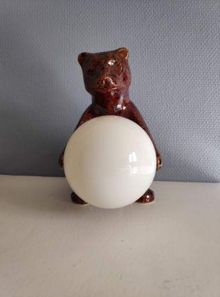 lampe ours vintage en céramique marron et globe opaline