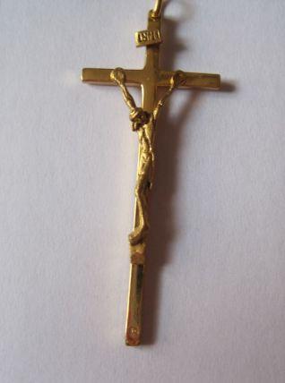 ancienne croix Christ rivé suspendu JANSENISTE métal plaqué