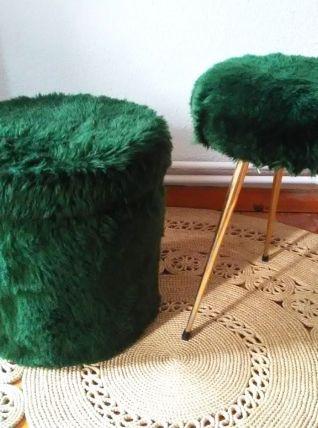 Duo pouf et tabouret moumoute - Années 70