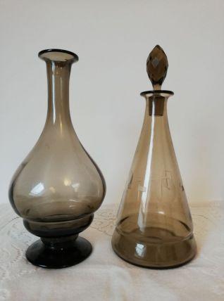 Duo vintage en  verre fumé