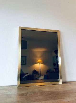 Grand miroir Italien en laiton et verre fumé