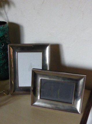 Lot de deux Cadres en metal et velours noir vintage 1970
