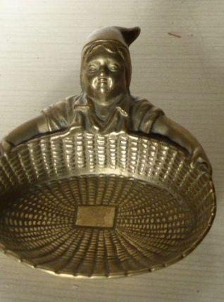 Porte savon lutin en laiton, ancien, en forme de coquille