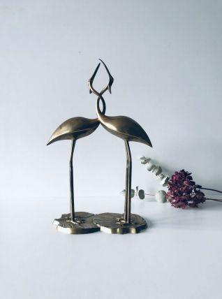 Couple d'oiseaux en laiton doré