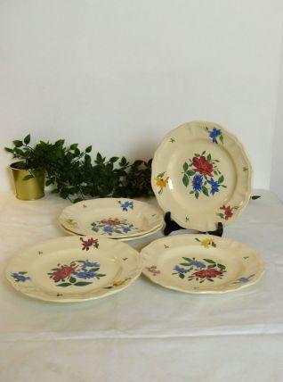 4 Assiettes et plat Digoin Sarreguemines