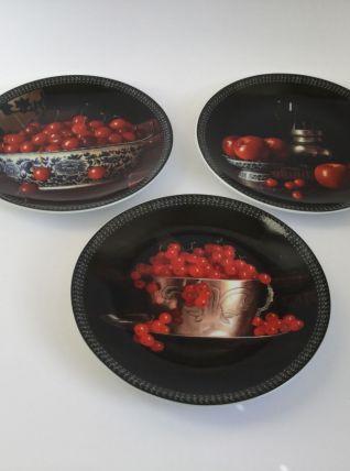 3 assiettes à dessert CHAURAY porcelaine de Limoges