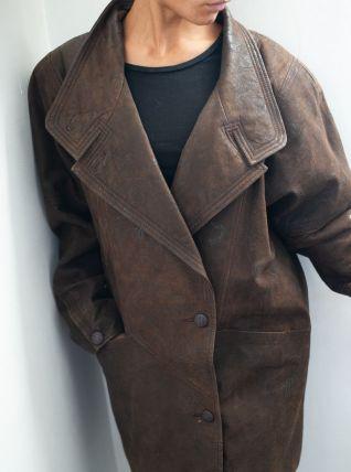 Manteau en cuir marron vintage