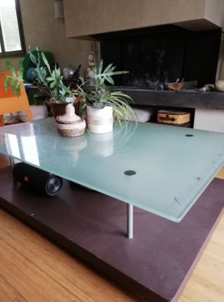 Table basse 90s Ligneroset Pascal Mourgue verre