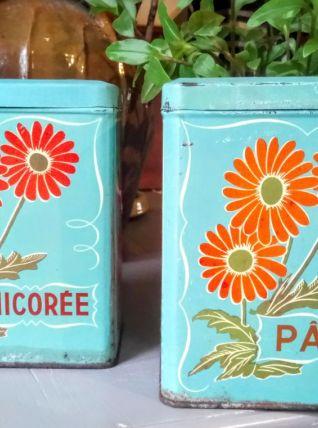 """Deux boites en tôle """"pâtes"""" et """"Chicorée"""""""